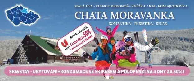 SKI&STAY z Krkonoš na 4 dny se skipasem za půl 100m od sjezdovky, Moravanka