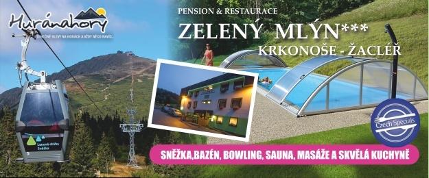 5 až 8 dní s polopenzí, bazénem, saunou a bowlingem v příjemném hotelu Zelený Mlýn. Dovolená pro celou rodinu s domácí atmosférou a vyhlášenou krkonošskou kuchyní.