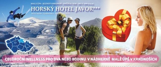 Extra bonusy pro dva!! Dovolená s wellness 3 dny s bohatou polopenzí v oblíbeném *** Hotelu Javor, venkovní vířivkou a bazénem, infrasaunou a masážemi. Zasloužený odpočinek s lahví sektu a relax v krásné přírodě v Krkonoších.