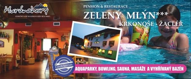 Akce prázdniny! Rodinná dovolená na 8 nebo nebo 6 dní v Krkonoších s chutnou polopenzí a oceněním Czech Specials, zastřešeným bazénem 10x4m, bowlingem a skvělou domácí atmosférou.