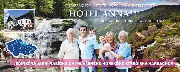 """3-4 dny s polopenzí v Harrachově! Skvělá nabídka z hotelu Anna***  s 20% slevou na wellness služby.  Ideální dovolená pro všechny věkové kategorie! Na své si přijdou aktivní sportovci i """"gaučoví lenoši"""""""