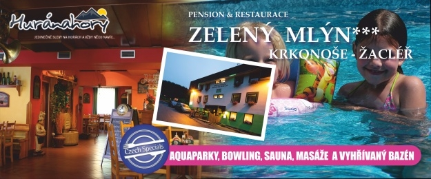 Letní dovolená v penzionu Zelený Mlýn na 6 dní s chutnou polopenzí a s oceněním Czech Specials, zastřešený bazén 10x4m, bowling a skvělá domácí atmosféra.