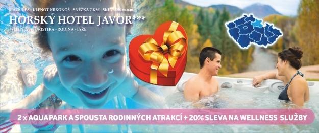 Extra bonusy pro dva!! 3 dny s bohatou polopenzí v oceněném *** Hotelu Javor, venkovní vířivkou a bazénem, infrasaunou a masážemi. Zasloužený odpočinek s lahví sektu a relax v krásné přírodě v Krkonoších.
